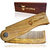 Striking Viking Folding Wooden Comb - Men's Hair, Beard and Mustache Styling Comb - Pocket Sized Sandal Wood Comb for Everyda