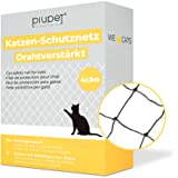 PiuPet® Cat Net trådförstärkt I för balkong och fönster I inklusive fästset I balkong nät för katter I svart (4 x 3 m)
