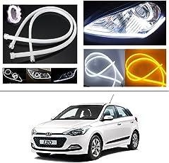 AutoStark Angel Eye 2X Daytime Running Light Tube Guide Soft and Flexible Car LED Strip DRL White and Yellow Turn Signal Light for Hyundai I-20 Elite