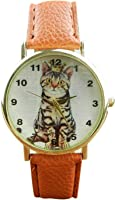 Watch - SODIAL(R)Mens Womens Unisex Watches Pattern Leather Band Analog Quartz Vogue Wrist Watch Colour:Orange (Lovely Cats)
