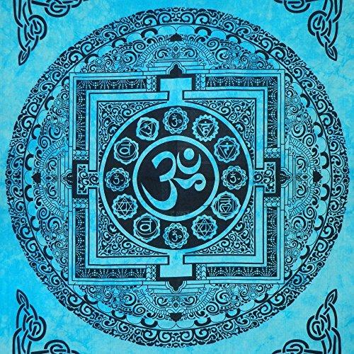 Tagesdecke Om Mandala türkis 235 x 200 cm Baumwolle Wandbehang Dekoration (Om Tagesdecke)
