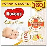 Huggies Extra Care Bebè Pannolini, Taglia 2 (3-6Kg), Confezione da 160 Pannolini