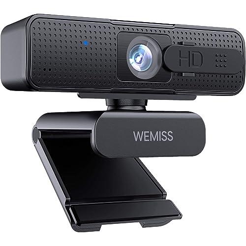 Webcam 1080P Full HD con Microfono, WEMISS Autofocus Webcam per PC con Correzione della Luce e Otturatore della Privacy VideoCamera per Video Chat Compatibile con Windows Mac e Android