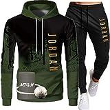 NFGH Giordania Tracksuit per Uomo, Manica Lunga con Cappuccio Pullover Sportswear a 2 Pezzi Set con Cappuccio + Pantaloni Tut