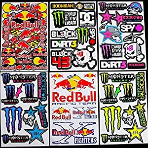 6 Sheets Motocross stickers kpp# boys Rockstar bmx bike Scooter Moped army Decal Stickers