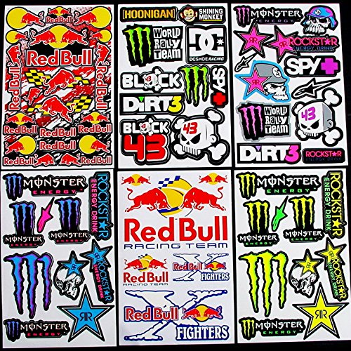 6 sheets motocross stickers kpp boys rockstar bmx bike scooter moped army decal stickers