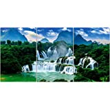 1ArtofCreation Set of 3 Blue Cloudy Sky Green Forest Waterfalls Beautiful UV Coated Home Decorative Panel Mdf Wall Painting 1