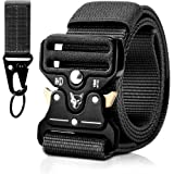 Men Tactical Military Belt, Quick-Release Heavy Duty Style Metal Buckle Nylon Belts with Keychain for EDC