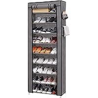 10 Tiers Wardrobe Shoe Rack 30 paires de chaussures avec fermeture éclair, armoire à chaussures robuste avec housse en…