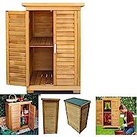 Armoire de jardin portable en bois résistant aux intempéries pour ranger les outils et les jouets
