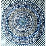 Tagesdecke Elefanten Pfau Mandala blau weiß Überwurf Baumwolle