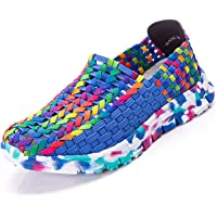 Women's Slip On Sport Casual Knitted Flat Lightweight Woven Water Shoes Scarpe Intrecciate da Donna Casual lavorate a…
