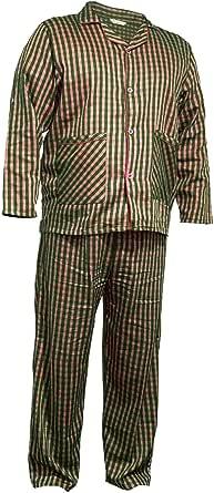 Qamfort Pure Cotton Checked Mens Pyjamas Set Loungewear Sleepwear Set Bottom Summer Nightwear for Men Sleeping Suit Pjs Classic Night Dress Long Sleeve Shirt Trouser