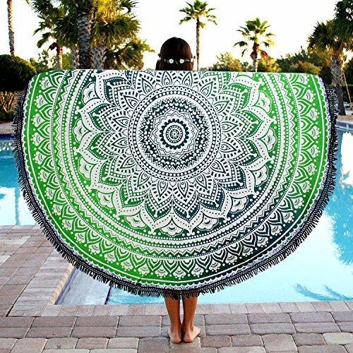 Überwurf, Strandtuch, Yogamatte, indisches Mandala, rund, Baumwolle, Tischdecke Strandtuch, runde Yogamatte, Schal, 182,9cm Strand Freizeit, Picknick grün / blau
