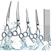 swify 5pcs in acciaio inox di animale domestico di forbici da taglio capelli forbici per la cura del pelo per cani con pettine e panno