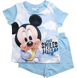 Disney Mickey Mouse Baby Jungen Kurzarm Body Strampler Strampelanzug Grau Blau