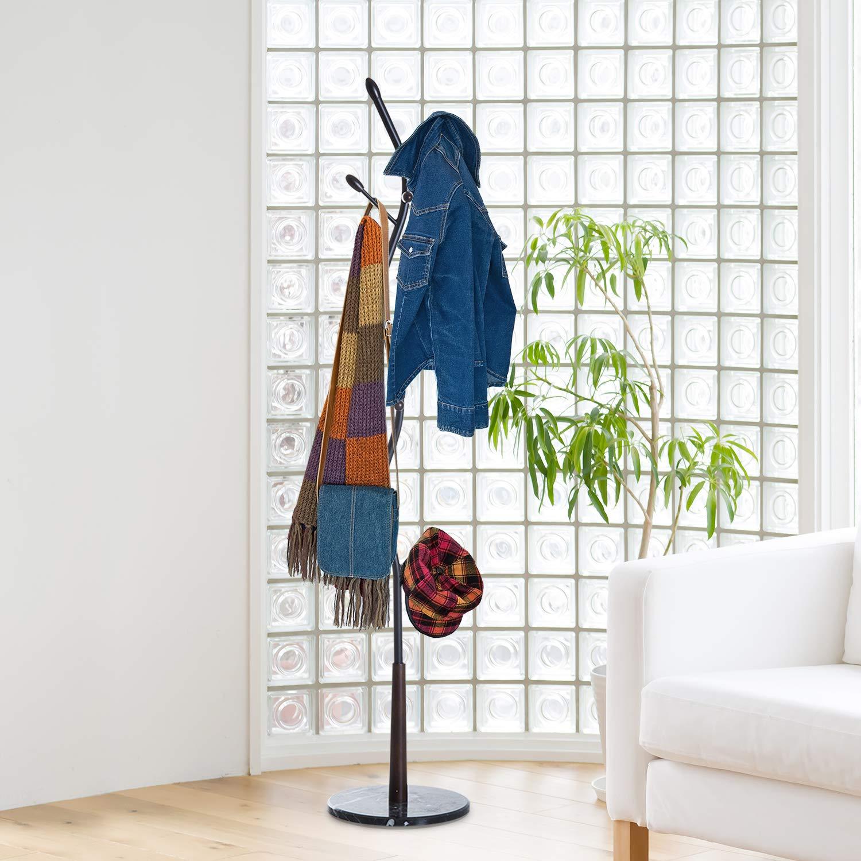 HOMCOM Garderobenständer Garderobe Kleiderständer mit 8 Haken Marmor Flur Stahl Schwarz L35 x B35 x H185cm