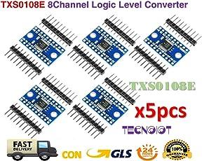 TECNOIOT 5pcs TXS0108E 8 Channel Logic Level Converter TTL 3.3V 5V Bi-Directional Convert | 5pcs 8 Kanäle Bi-direktionales bidirektionales Logikmodul TXS0108E Konvertermodul für Arduino