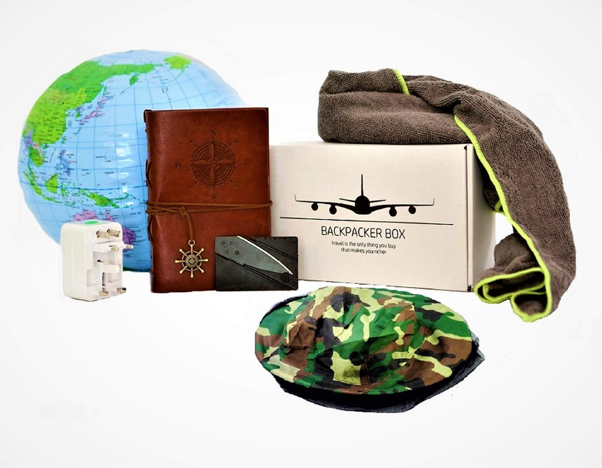 Backpacker Box - Reisetagebuch, Mikrofaser-Handtuch, Steckdosenadapter + Travel-Gadgets in moderner Geschenkbox + 90 x…