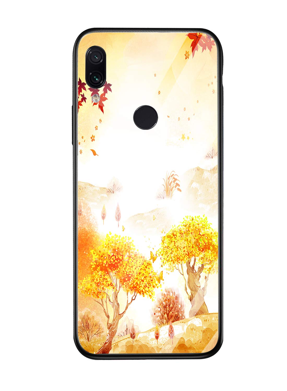 Oihxse Compatible for Xiaomi Mi 8SE Case Glass with Design, Slim Fit Tempered Glass Back Fashion Pattern [Anti-Yellow] [Non-Fade] Cover Shockproof TPU Bumper Skin Shell for Xiaomi Mi 8SE-Yellow3 Oihxse 🍂Slim Fit snugly for Xiaomi Mi 8SE without bulky and loose. 100% compatible with the Qi [Wireless Charging]. Ultra Thin glass back cover will not block [WiFi / GPS / Bluetooth / Signal Reception]. 🍂Stylish autumn series pattern covered with 9H tempered glass to ensure the performance of [Anti-Fade] [Anti-Yellowing], durable for use and adds more sleek look even fashion charming. Suitable for girls, boys, women and men. 🍁Soft TPU bumper with anti-slip design on both sides, compliment with pretty autumn series hard plastic panel plus 9H tempered glass back shell, not only can withstand shocks, impacts, scratches, and bumps, but also provide great in-hand feeling and grip. 1