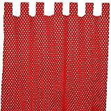 Sugarapple Dekoschal, Gardine, Vorhang (über 35 Farben wählbar) mit Schlaufen aus Baumwolle für Kinderzimmer und Babyzimmer. 2 Schals, Breite 143 cm, Länge 230 cm, Punkte fliegenpilz