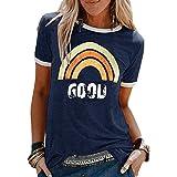 Voqeen T-Shirt Donna Camicetta Bluse Maglietta Donna Camicia Tee Top Manica Corta Estive Casual Stampa Girocollo Splicing Sci