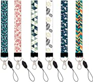 HEYGOO 6 Pack Wristlet Keychain with Metal Clasp, Floral Wrist Lanyard Strap for Key Chain, Cell Mobile Phone, Camera