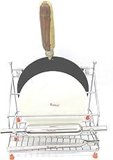 Olrada 4 in 1 Stainless Steel Chakla Belan Tawa Chimta Lighter Stand Holder Length 26cm, Width 26cm Depth 20cm (Silver, 9865210145789)
