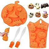 Moules de cuisson en silicone Halloween, 2 pièces Outils de cuisson avec 2 brosses en silicone, moule en silicone pour citrou