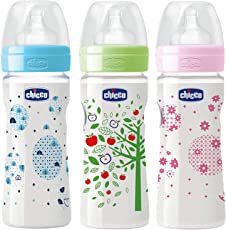 Chicco 150ml Well-Being Feeding Bottle (Pack of 3) - 150 ml (Blue, Pink, Green)