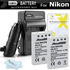 2 Pack Battery And Charger Kit For Nikon P100 P500 P510 Digital Camera Includes 2 Extended (1100 Mah) Replacement Nikon EN-EL5 Batteries + AC/DC Rapid Charger + LCD Screen Protectors + ButterflyPhoto MicroFiber Cleaning Cloth