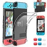HEYSTOP Coque pour Nintendo Switch avec Protection Écran, Étui Nintendo Switch Protection Ecran Verre Trempé avec 6 Poignées