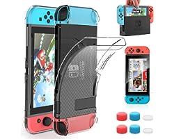 HEYSTOP Custodia Compatibile con Nintendo Switch, Cover Protettiva Trasparente e Switch Pellicola Protettiva Utilizzabile nel
