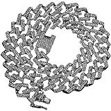 Tanwenling33 Collana Cubana Uomo Diamanti Oro Argento Hip Hop Iced out Cuban Link Chain Catena Cubana 15 mm di Larghezza Stra