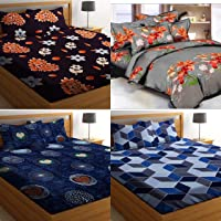 Amrange Glace Cotton King Size Double Bedsheet Combo Pack of 4 Along with 8 Pillow Covers