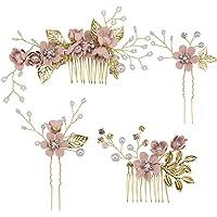 Toyvian - Fermaglio a pettine per capelli con strass, decorazione floreale nuziale, adatto a matrimoni, 4 pezzi, colore…