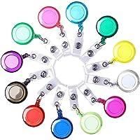 Borte 12 Pièces Enrouleur Badge, Rétractable Porte-Badges Badge Holder Clips Porte-cartes Translucides - Pour Cartes…