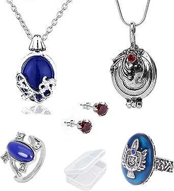 YouU 5 pezzi Vampire Diaries Elena Gilbert medaglione verbena e Daywalking Katherine Collana Orecchini a bottone con Diamanti blu royal Anello S Anello