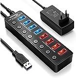 APANAGE Alimenté Hub USB 3.0, 8 Ports USB Splitter (4-Port Transfert de données + 4-Port Charge Intelligente USB 3.0 actif) avec Interrupteur Indépendant, 48W Adaptateur alimentation et câble de 1,5 M