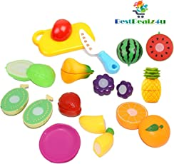 BestDealz4u Realistic Sliceable Fruits Cutting Play Toy Set, Can Be Cut in 2 Parts(Multicolour)-Set of 15