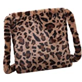 Women Plush Faux Fur Clutch Handbag Leopard Print Tote Shoulder Bag, Leopard Print Bag Fluffy, Fashion Leopard Print Crossbod