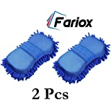 Fariox Multipurpose Microfibre Wash and Dry Cleaning Sponge for Car, Home and Office etc. (Pack of 2)