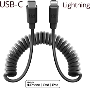 equinux NEU tizi Spiralkabel Ultra USB-C-auf-Lightning (1,4m, schwarz) Flexibles Daten- und Ladekabel, MFi Zertifiziert, PD Power Delivery Kabel zum Schnellladen, Dehnbar, Kompatibel mit iPhone
