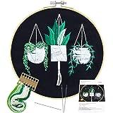 Borduurwerk Starter Kit inclusief instructies Bamboe Borduurwerk Hoop Borduurdoek met patronen Draden en Gereedschap Kruisste