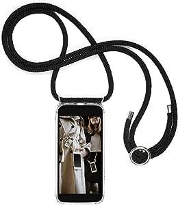 Jalouza Handykette kompatibel mit Apple iPhone 11, Kordel in Schwarz - Silber mit Handy Hülle zum Umhängen, Made in Berlin