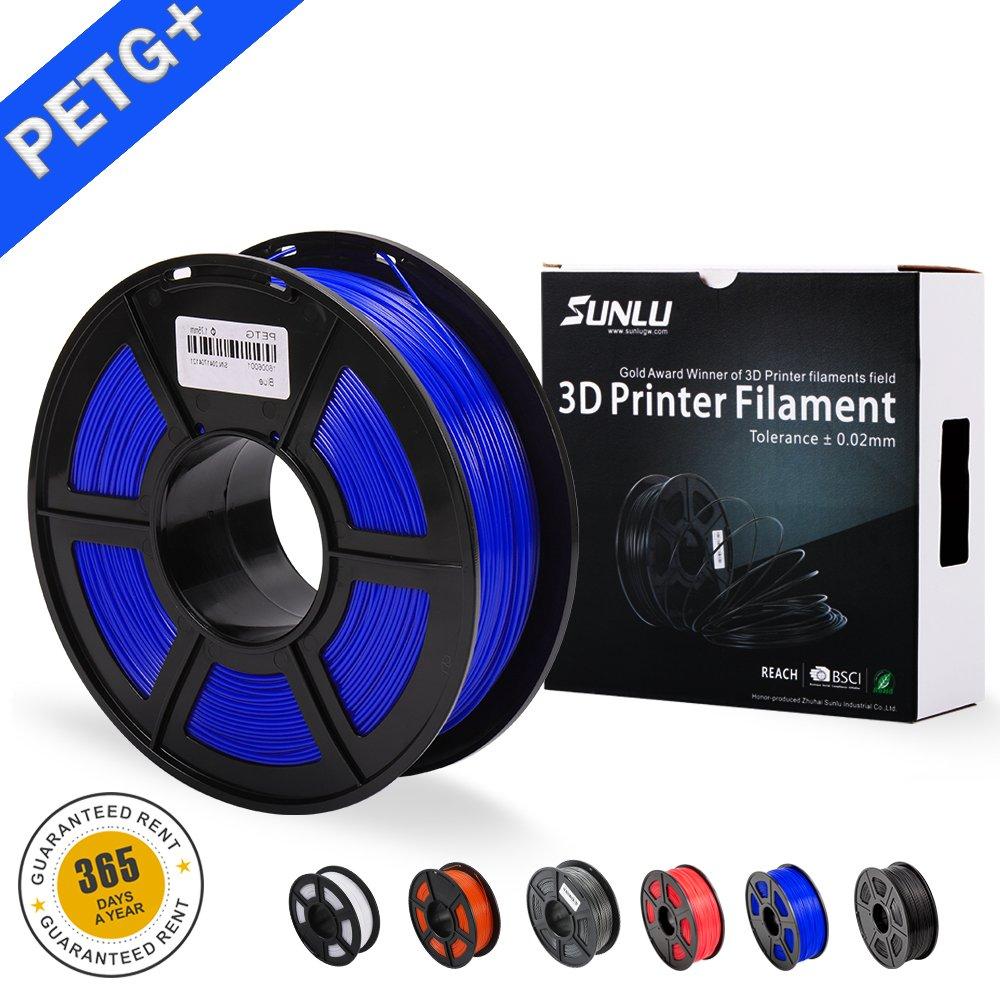 SUNLU 3D 1.75mm PETG Filament 1kg (2.2lb), PETG 3D Printer Filament,Diameter Tolerance +/- 0.02mm, 1kg Spool