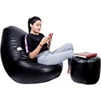 TRUEMATE Comfortable - Living Room Bean Bags with Footrest Combo Filled with Beans , Bean Bag Size XXXL-Colour- Black