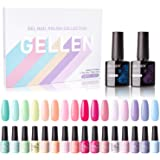 Gellen 16 Colors Gel Nail Polish Set With Top Base Coat - Juicy Vibrant Spring Summer Rainbow Neon Solid Colors Collection, P