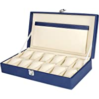 Hard Craft Watch Box Case PU Leather for 12 Watches - Blue