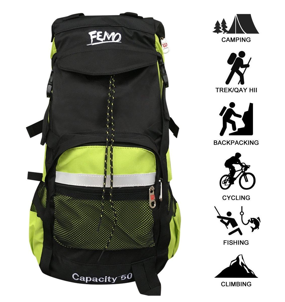Kunpron Mochila de senderismo para hombre, 60 l, ligera, resistente al agua, negro, casual, grande, para viajes, camping, escalada, montañismo, deportes al aire libre